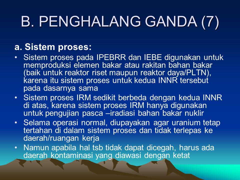 B. PENGHALANG GANDA (7) a. Sistem proses: Sistem proses pada IPEBRR dan IEBE digunakan untuk memproduksi elemen bakar atau rakitan bahan bakar (baik u