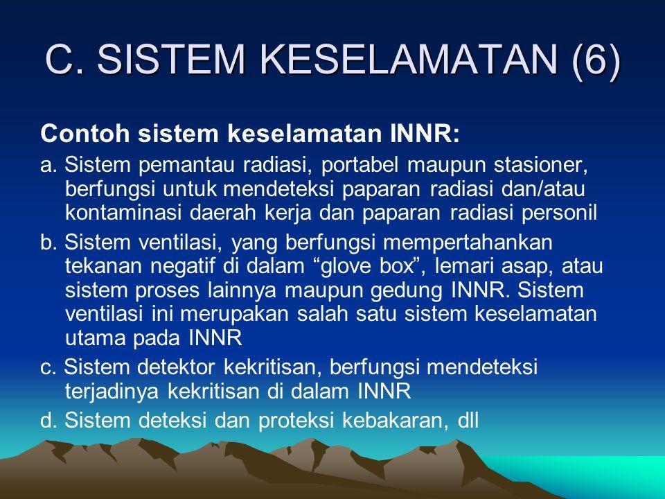 C. SISTEM KESELAMATAN (6) Contoh sistem keselamatan INNR: a. Sistem pemantau radiasi, portabel maupun stasioner, berfungsi untuk mendeteksi paparan ra