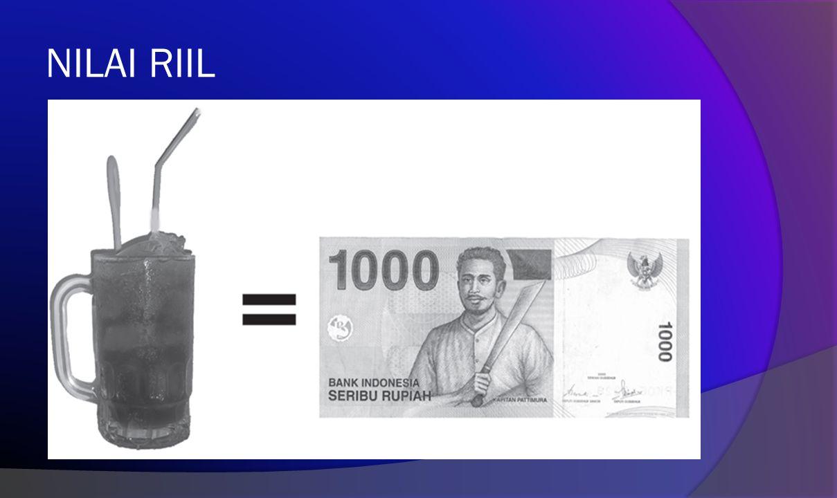 NILAI UANG Nilai uang adalah kemampuan uang untuk dapat ditukarkan dengan sejumlah barang tertentu. Nilai uang tersebut dapat dibedakan menjadi tiga m
