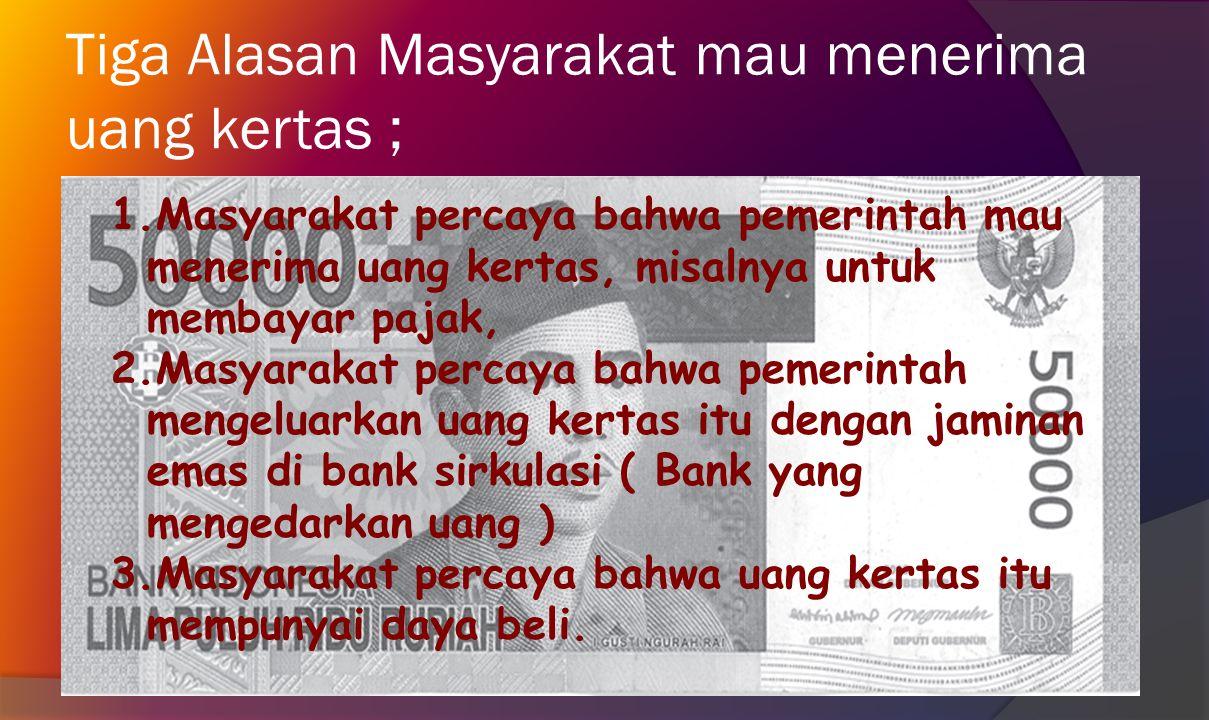  Nilai intrinsik uang adalah nilai bahan yan digunakan untuk membuat uang.  Contoh: untuk membuat uang kertas Rp50.000,00 diperlukan kertas dan baha