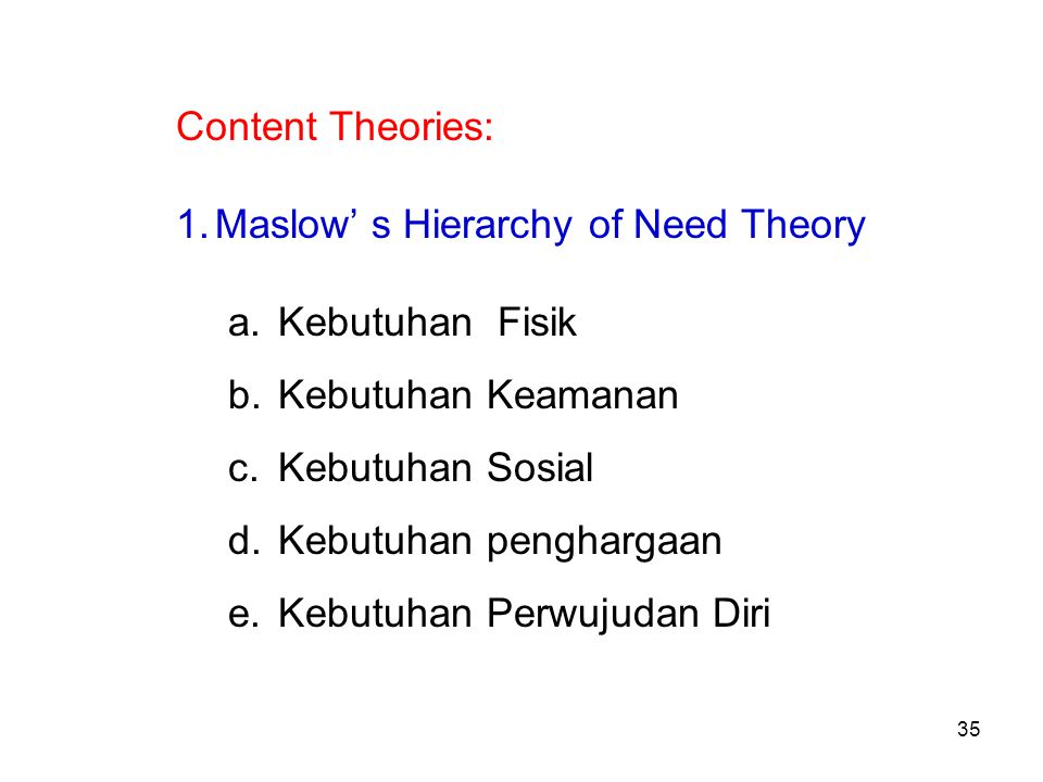 Content Theories: 1.Maslow' s Hierarchy of Need Theory a.
