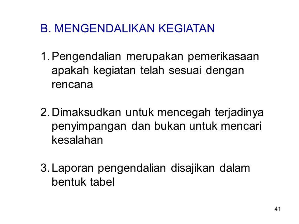 B. MENGENDALIKAN KEGIATAN 1.Pengendalian merupakan pemerikasaan apakah kegiatan telah sesuai dengan rencana 2.Dimaksudkan untuk mencegah terjadinya pe