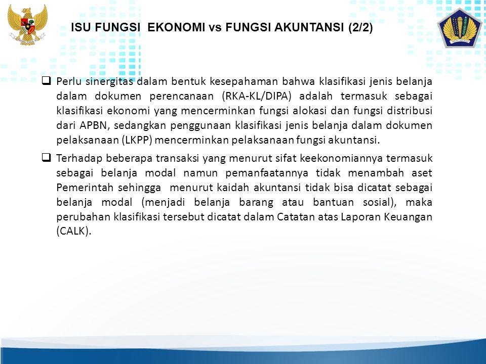  Perlu sinergitas dalam bentuk kesepahaman bahwa klasifikasi jenis belanja dalam dokumen perencanaan (RKA-KL/DIPA) adalah termasuk sebagai klasifikas