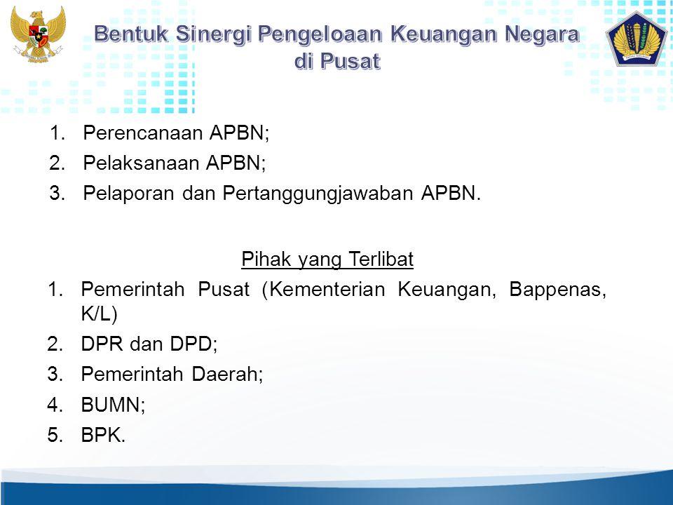 1.Perencanaan APBN; 2.Pelaksanaan APBN; 3.Pelaporan dan Pertanggungjawaban APBN. Pihak yang Terlibat 1.Pemerintah Pusat (Kementerian Keuangan, Bappena