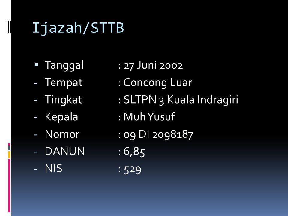 Ijazah/STTB  Tanggal: 27 Juni 2002 - Tempat: Concong Luar - Tingkat: SLTPN 3 Kuala Indragiri - Kepala : Muh Yusuf - Nomor: 09 DI 2098187 - DANUN: 6,8