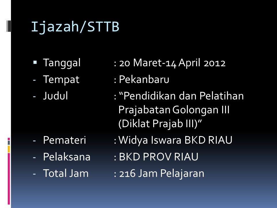 """Ijazah/STTB  Tanggal: 20 Maret-14 April 2012 - Tempat: Pekanbaru - Judul: """"Pendidikan dan Pelatihan Prajabatan Golongan III (Diklat Prajab III)"""" - Pe"""