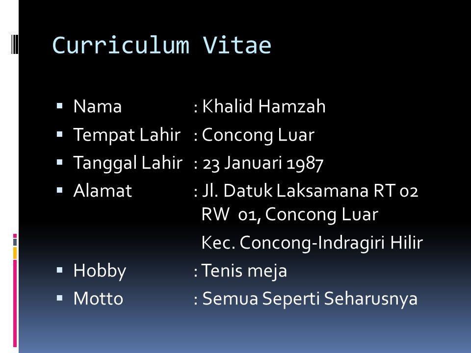 Curriculum Vitae  Nama : Khalid Hamzah  Tempat Lahir: Concong Luar  Tanggal Lahir: 23 Januari 1987  Alamat: Jl. Datuk Laksamana RT 02 RW 01, Conco