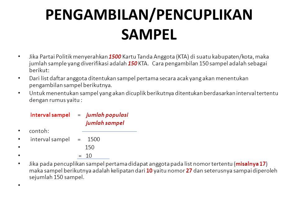 PENGAMBILAN/PENCUPLIKAN SAMPEL Jika Partai Politik menyerahkan 1500 Kartu Tanda Anggota (KTA) di suatu kabupaten/kota, maka jumlah sample yang diverif