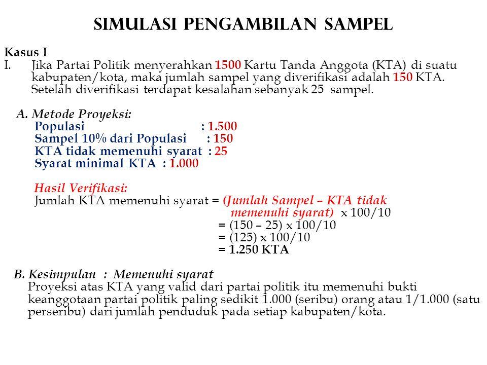 Simulasi Pengambilan Sampel Kasus I I.Jika Partai Politik menyerahkan 1500 Kartu Tanda Anggota (KTA) di suatu kabupaten/kota, maka jumlah sampel yang diverifikasi adalah 150 KTA.