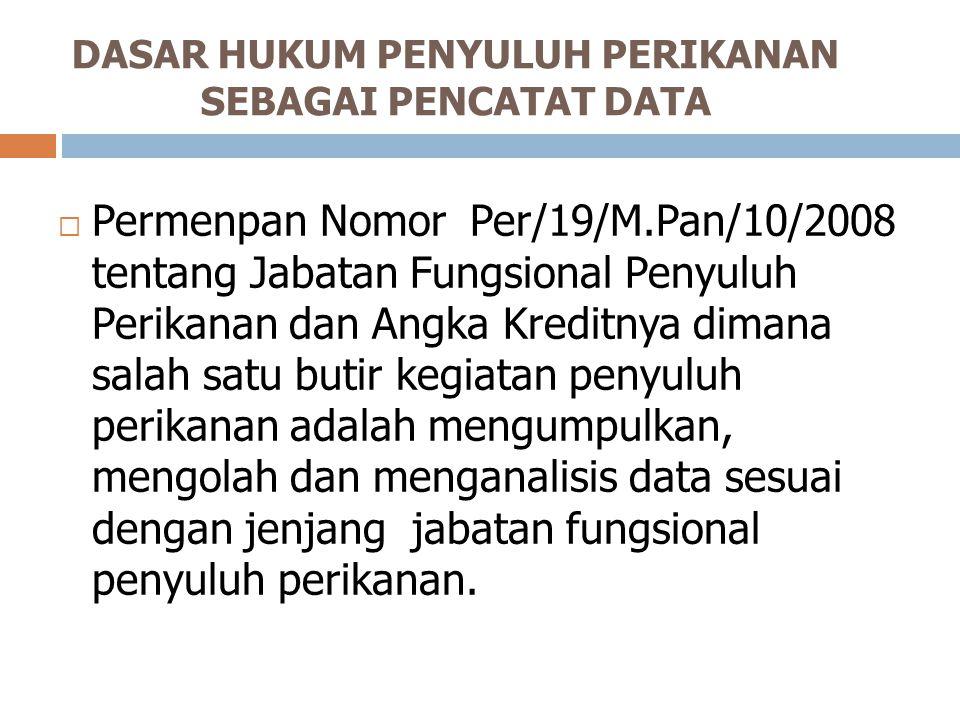 DASAR HUKUM PENYULUH PERIKANAN SEBAGAI PENCATAT DATA  Permenpan Nomor Per/19/M.Pan/10/2008 tentang Jabatan Fungsional Penyuluh Perikanan dan Angka Kr