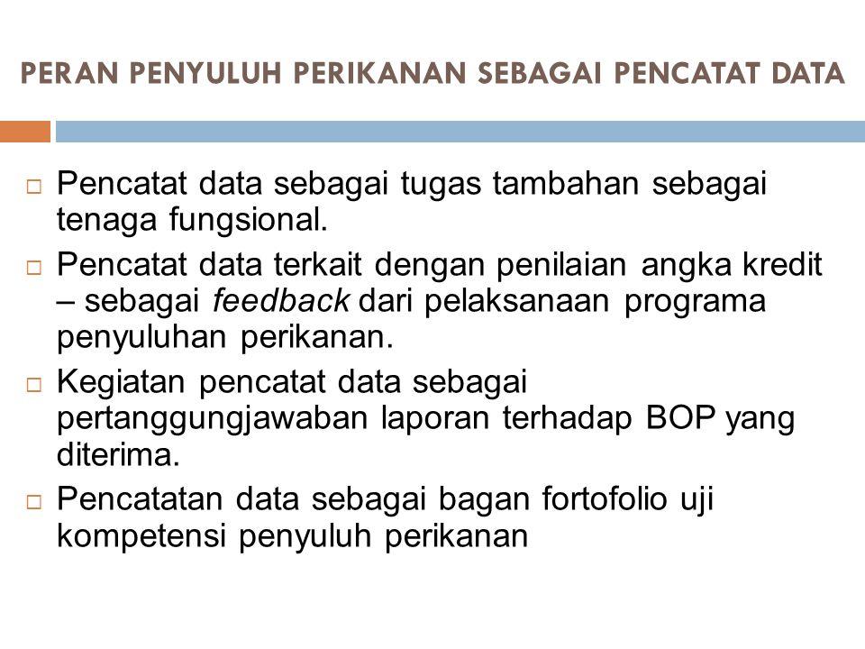 PERAN PENYULUH PERIKANAN SEBAGAI PENCATAT DATA  Pencatat data sebagai tugas tambahan sebagai tenaga fungsional.  Pencatat data terkait dengan penila
