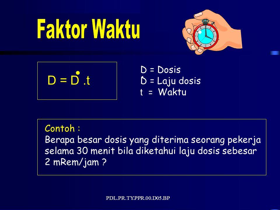 PDL.PR.TY.PPR.00.D05.BP D = D.t. D =Dosis D =Laju dosis t =Waktu.
