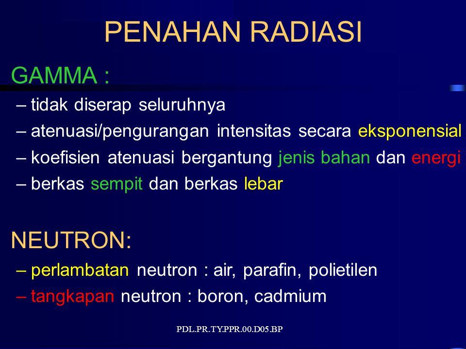 PENAHAN RADIASI GAMMA : –tidak diserap seluruhnya –atenuasi/pengurangan intensitas secara eksponensial –koefisien atenuasi bergantung jenis bahan dan energi –berkas sempit dan berkas lebar NEUTRON: –perlambatan neutron : air, parafin, polietilen –tangkapan neutron : boron, cadmium