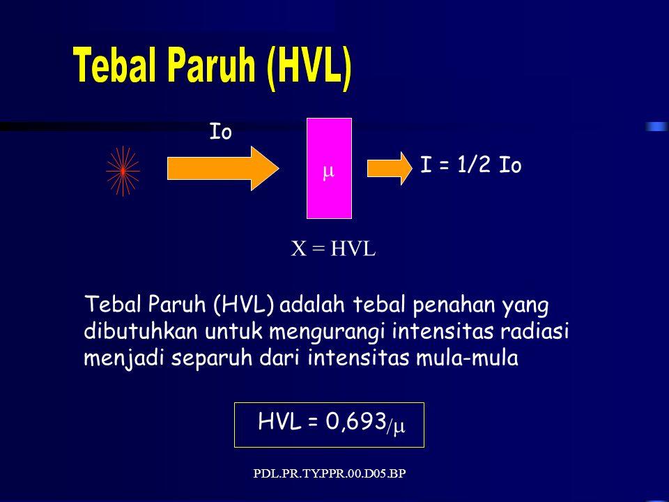 PDL.PR.TY.PPR.00.D05.BP HVL = 0,693 /  Tebal Paruh(HVL)adalah tebal penahanyang dibutuhkan untuk mengurangi intensitas radiasi menjadi separuh dari intensitas mula-mula Io  I = 1/2Io X = HVL