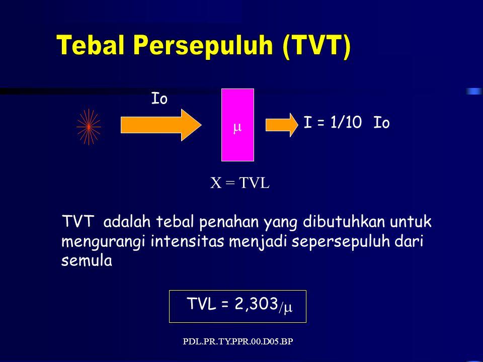 PDL.PR.TY.PPR.00.D05.BP Io  I = 1/10Io X = TVL TVT adalah tebal penahan yang dibutuhkan untuk mengurangi intensitas menjadi sepersepuluh dari semula TVL = 2,303 / 