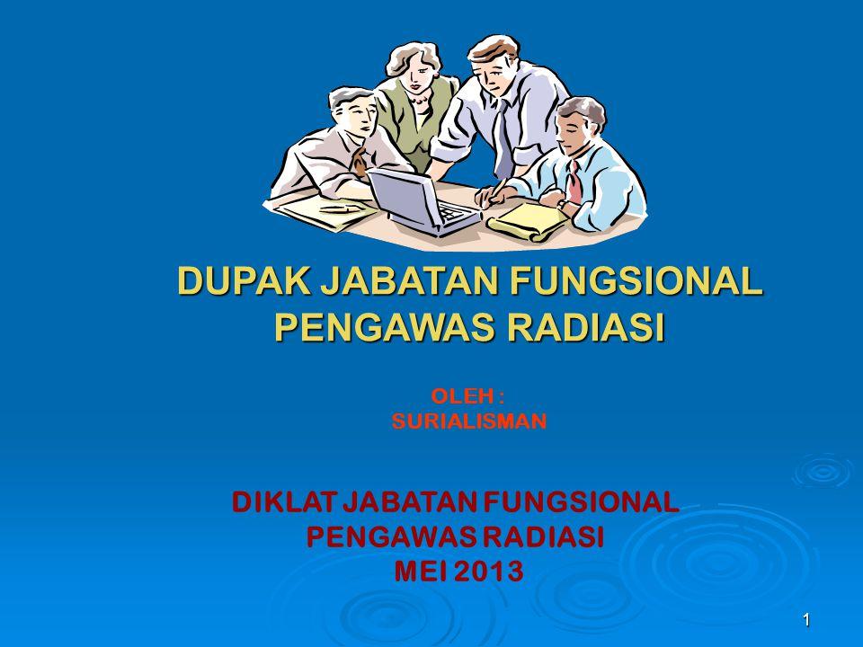 1 DUPAK JABATAN FUNGSIONAL PENGAWAS RADIASI DIKLAT JABATAN FUNGSIONAL PENGAWAS RADIASI MEI 2013 OLEH : SURIALISMAN