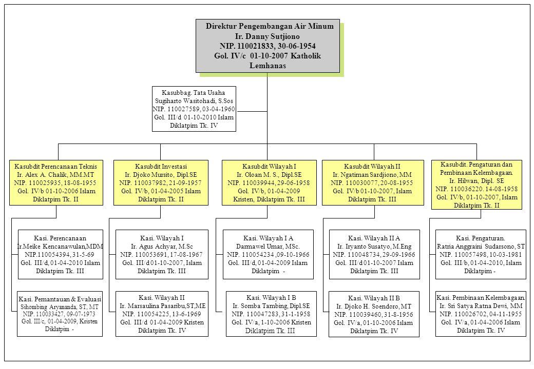 Direktur Pengembangan Air Minum Ir. Danny Sutjiono NIP. 110021833, 30-06-1954 Gol. IV/c 01-10-2007 Katholik Lemhanas Direktur Pengembangan Air Minum I