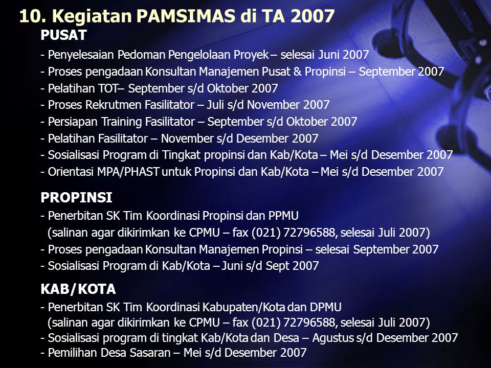 Orientasi MPA/PHAST untuk Propinsi dan Kab/Kota Rekrutmen Fasilitator Pedoman Pelaksanaan (PMM & VIM) Sosialisasi kpd Prop & Kab/Kota TOT Pengadaan Konsultan LOAN EFEK- TIF desjannovoktseptfebmarapr 2007 2008 agtjulijunimeiapr Persiapan & Pelatihan Fasilitator LOAN SIGN- ING Target Kegiatan yang direncanakan pada TA 2007 :