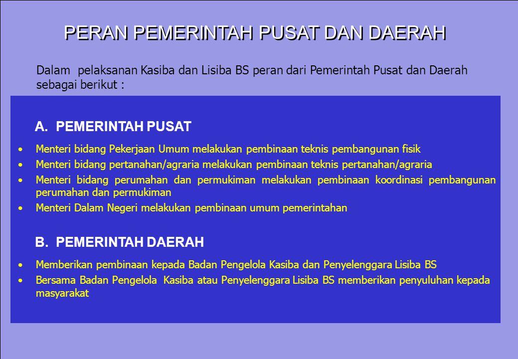 PERAN PEMERINTAH PUSAT DAN DAERAH PERAN PEMERINTAH PUSAT DAN DAERAH A. PEMERINTAH PUSAT Dalam pelaksanan Kasiba dan Lisiba BS peran dari Pemerintah Pu