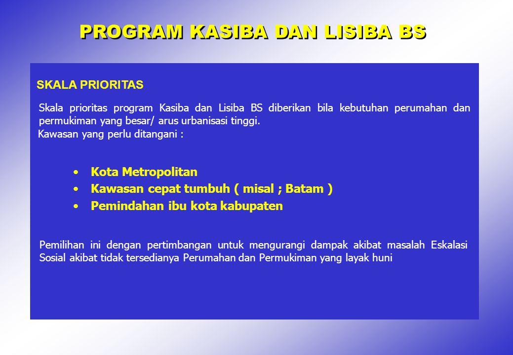 PROGRAM KASIBA DAN LISIBA BS SKALA PRIORITAS Kota Metropolitan Kawasan cepat tumbuh ( misal ; Batam ) Pemindahan ibu kota kabupaten Pemilihan ini deng