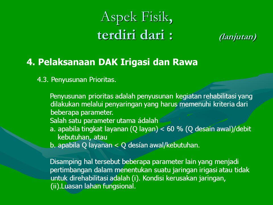 Aspek Fisik, terdiri dari : (lanjutan) 4.Pelaksanaan DAK Irigasi dan Rawa 4.3.