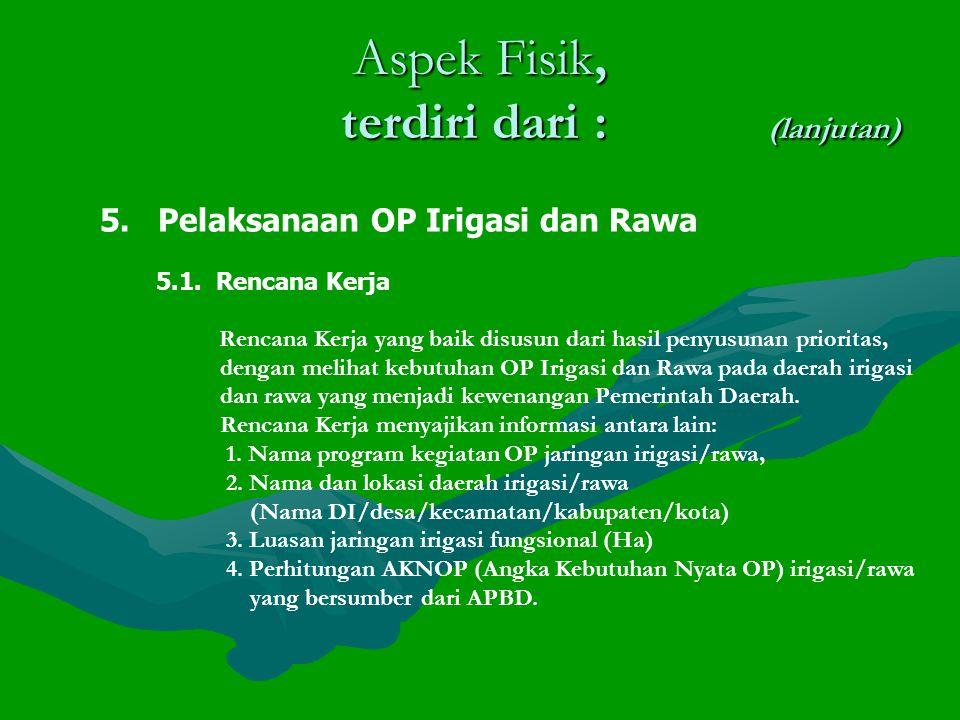 Aspek Fisik, terdiri dari : (lanjutan) 5.Pelaksanaan OP Irigasi dan Rawa 5.1.