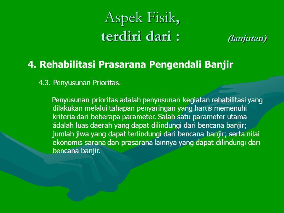Aspek Fisik, terdiri dari : (lanjutan) 4.Rehabilitasi Prasarana Pengendali Banjir 4.3.