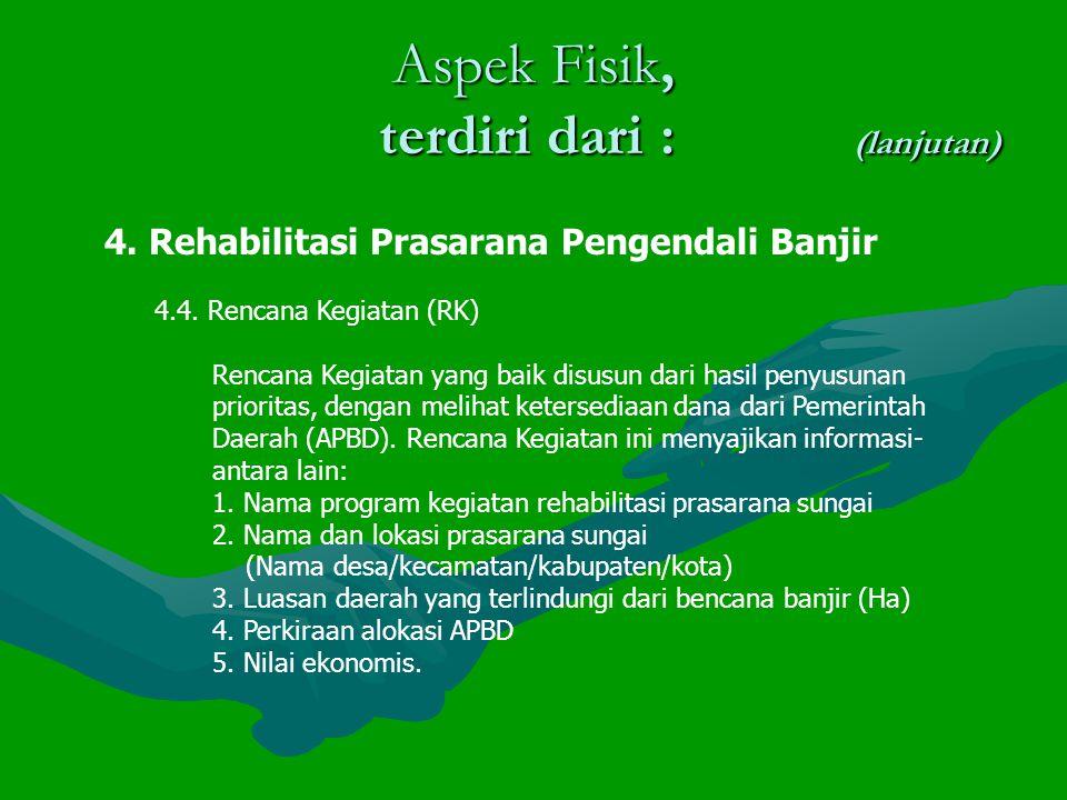 Aspek Fisik, terdiri dari : (lanjutan) 4.Rehabilitasi Prasarana Pengendali Banjir 4.4.