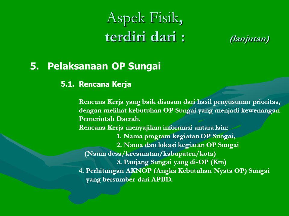 Aspek Fisik, terdiri dari : (lanjutan) 5.Pelaksanaan OP Sungai 5.1.