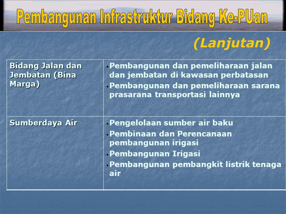 Bidang Jalan dan Jembatan (Bina Marga)  Pembangunan dan pemeliharaan jalan dan jembatan di kawasan perbatasan  Pembangunan dan pemeliharaan sarana p