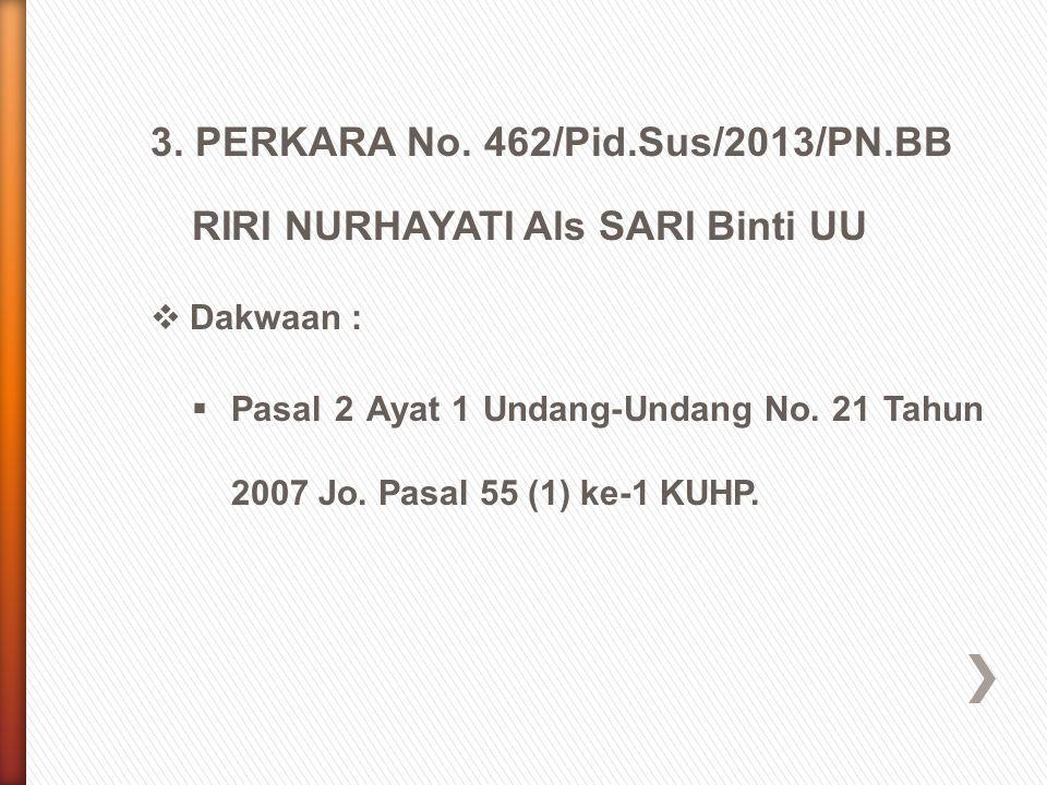 3. PERKARA No. 462/Pid.Sus/2013/PN.BB RIRI NURHAYATI Als SARI Binti UU  Dakwaan :  Pasal 2 Ayat 1 Undang-Undang No. 21 Tahun 2007 Jo. Pasal 55 (1) k