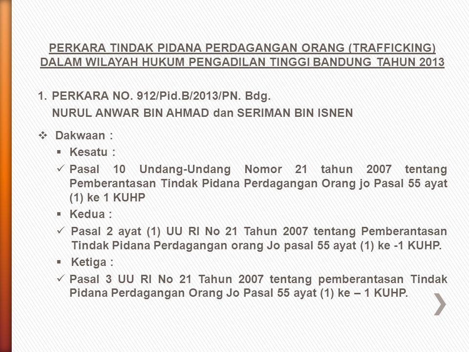 PERKARA TINDAK PIDANA PERDAGANGAN ORANG (TRAFFICKING) DALAM WILAYAH HUKUM PENGADILAN TINGGI BANDUNG TAHUN 2013 1.PERKARA NO. 912/Pid.B/2013/PN. Bdg. N