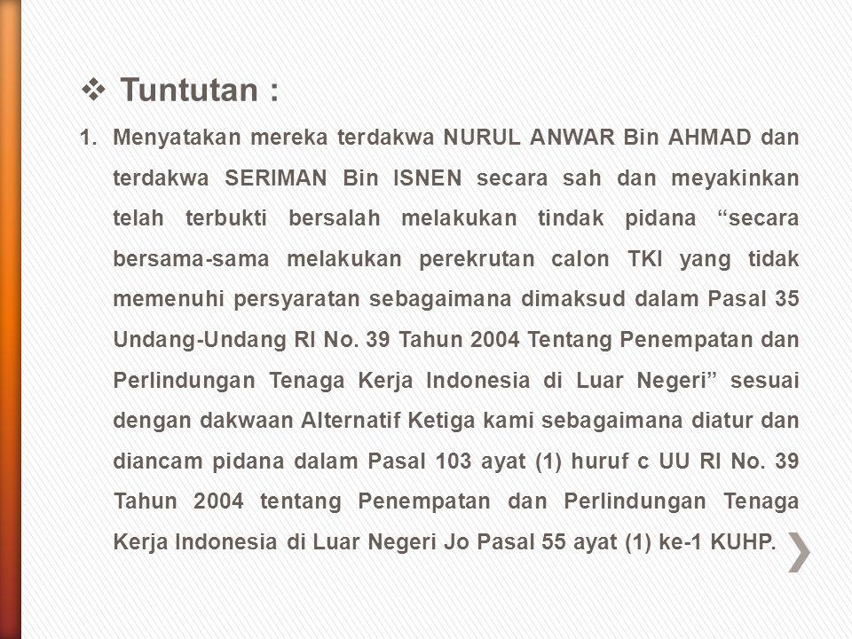  Amar Putusan Banding/Kasasi : »Menerima permintaan banding dari Penasiht Hukum Para Terdakwa ; »Menguatkan putusan Pengadilan Negeri Cibadak tanggal 14 Desember 2011 nomor 382/Pid.B/2011/PN.Cbd.