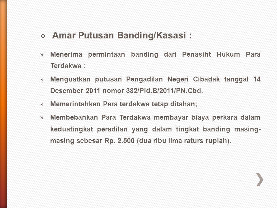  Amar Putusan Banding/Kasasi : »Menerima permintaan banding dari Penasiht Hukum Para Terdakwa ; »Menguatkan putusan Pengadilan Negeri Cibadak tanggal