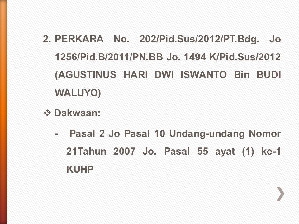 2.PERKARA No. 202/Pid.Sus/2012/PT.Bdg. Jo 1256/Pid.B/2011/PN.BB Jo. 1494 K/Pid.Sus/2012 (AGUSTINUS HARI DWI ISWANTO Bin BUDI WALUYO)  Dakwaan: - Pasa