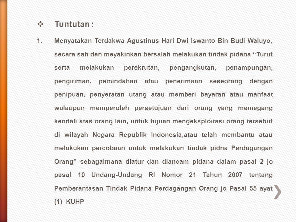 """ Tuntutan : 1.Menyatakan Terdakwa Agustinus Hari Dwi Iswanto Bin Budi Waluyo, secara sah dan meyakinkan bersalah melakukan tindak pidana """"Turut serta"""