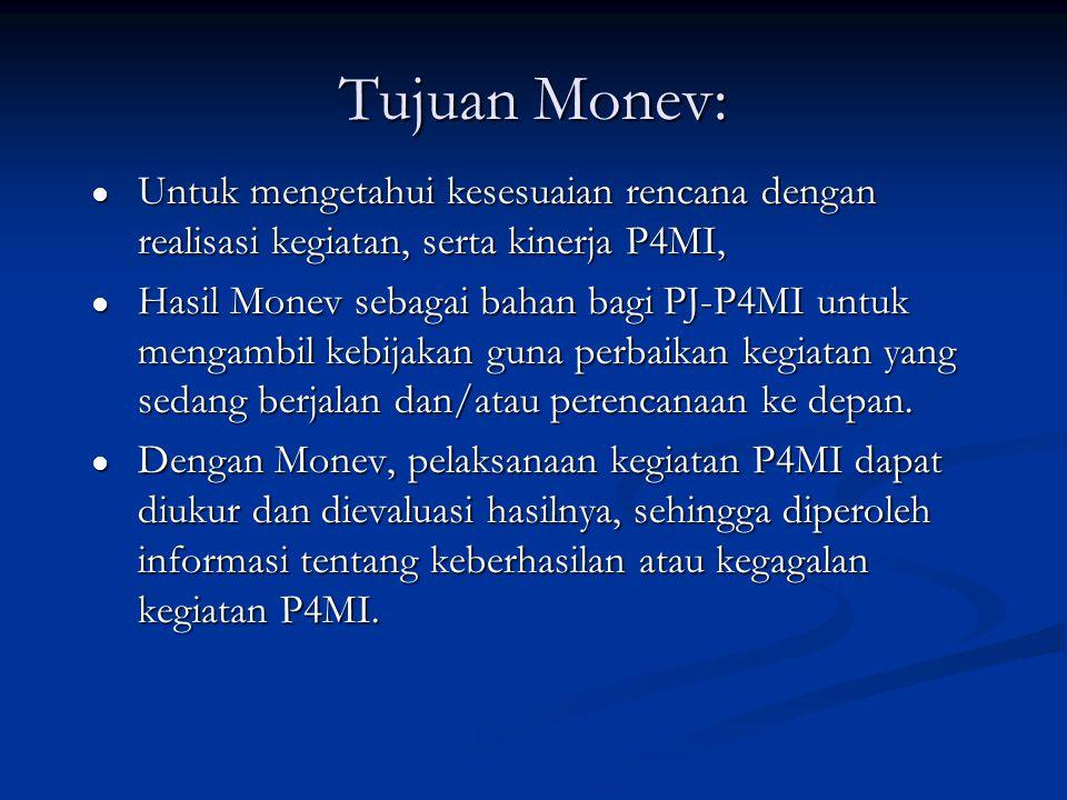 Tujuan Monev: ● Untuk mengetahui kesesuaian rencana dengan realisasi kegiatan, serta kinerja P4MI, ● Hasil Monev sebagai bahan bagi PJ-P4MI untuk meng