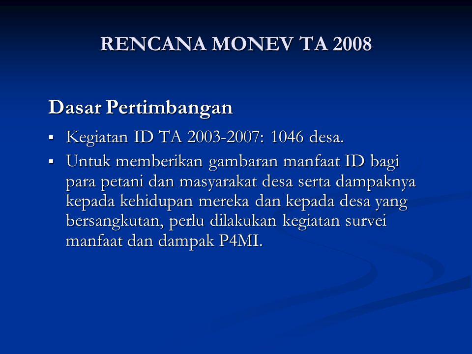 RENCANA MONEV TA 2008 Dasar Pertimbangan  Kegiatan ID TA 2003-2007: 1046 desa.  Untuk memberikan gambaran manfaat ID bagi para petani dan masyarakat