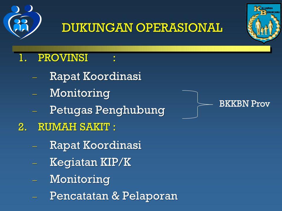DUKUNGAN OPERASIONAL 1.PROVINSI :  Rapat Koordinasi  Monitoring  Petugas Penghubung 2.RUMAH SAKIT :  Rapat Koordinasi  Kegiatan KIP/K  Monitoring  Pencatatan & Pelaporan BKKBN Prov