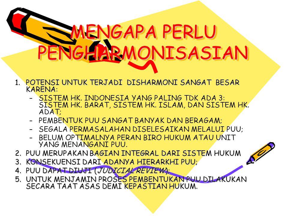 MENGAPA PERLU PENGHARMONISASIAN 1.
