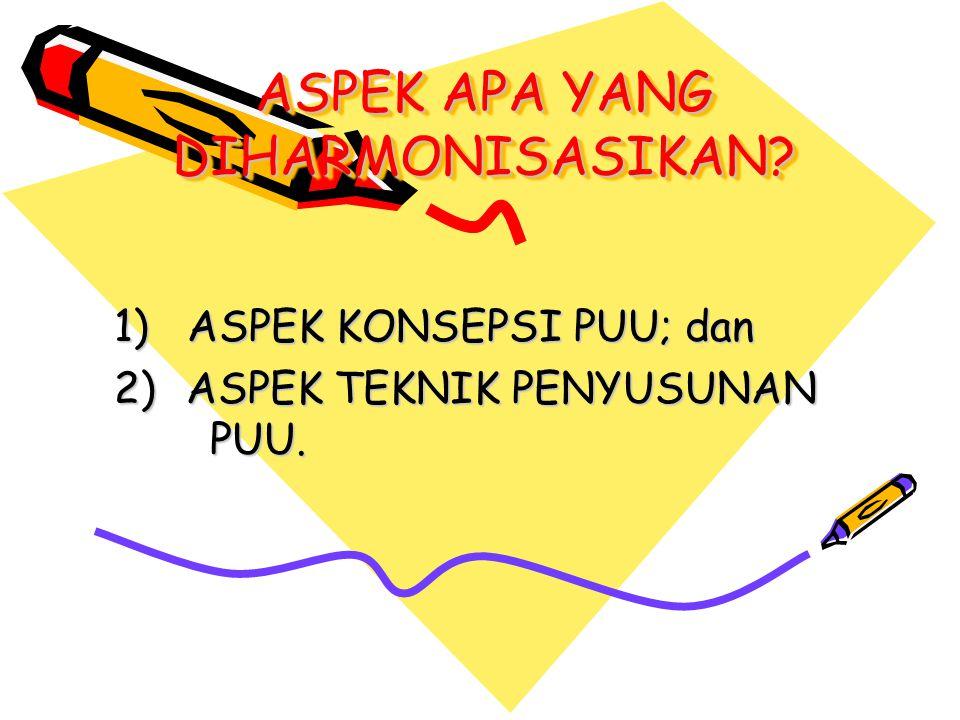 ASPEK KONSEPSI PUU: Rancangan PUU harus diharmonisasikan dengan: UTAMA (MUTLAK): a.Pancasila; b.UUD Negara RI Tahun 1945; c.Asas pembentukan dan asas materi muatan PUU; d.Materi muatan PUU secara horizontal/vertikal; e.Konvensi/perjanjian internasional; PENDUKUNG: a.Kebijakan yang terkait dengan penyusunan PUU; b.Hukum adat/kebiasaan, pendapat para ahli, dogma; c.