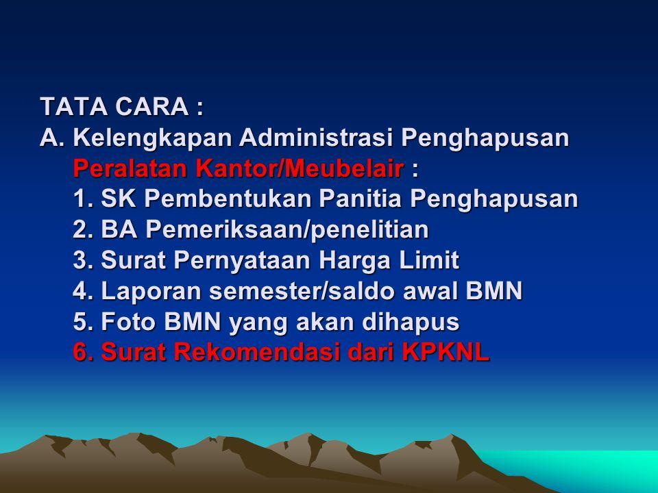DASAR : 1. PP No. 6 tahun 2006 ttg tata cara pengelolaan BMN/D 2. Permenkeu No. 96/PMK.06/2007 ttg tata cara pelaksanaan penggunaan, pemanfaatan, peng