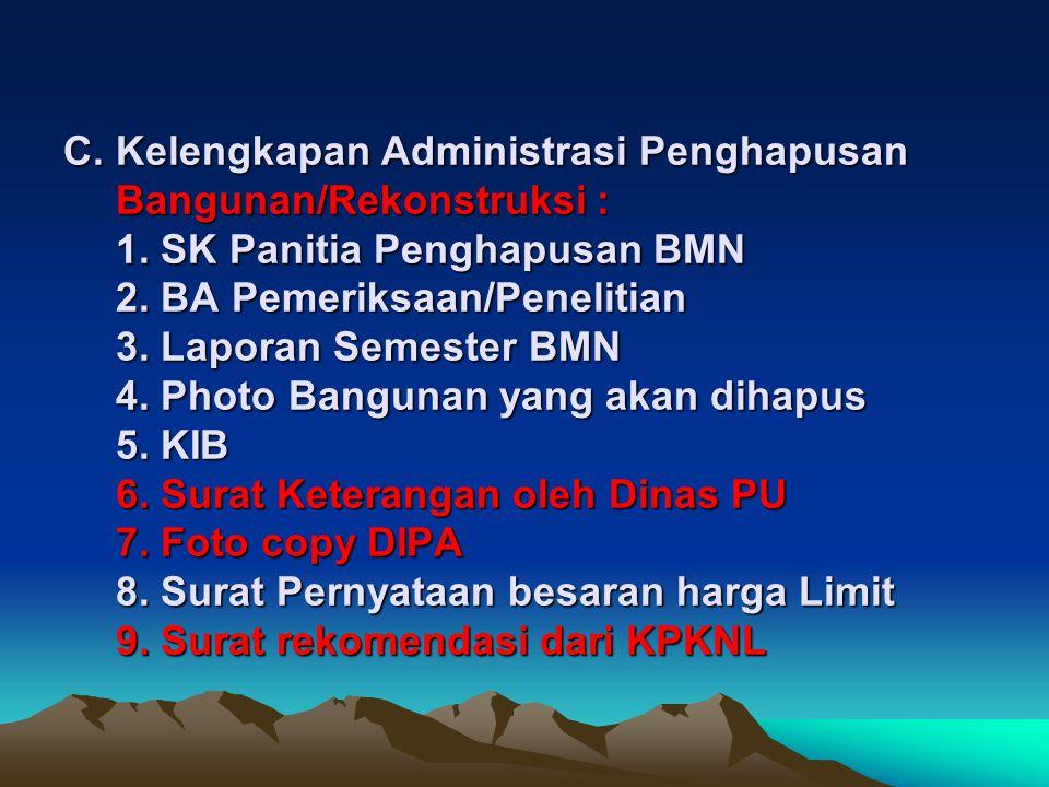 B. Kelengkapan Administrasi Penghapusan Kendaraan Dinas (Roda dua/empat): 1. SK Panitia Penghapusan BMN 2. BA Pemeriksaan/Penelitian 3. Surat Keterang