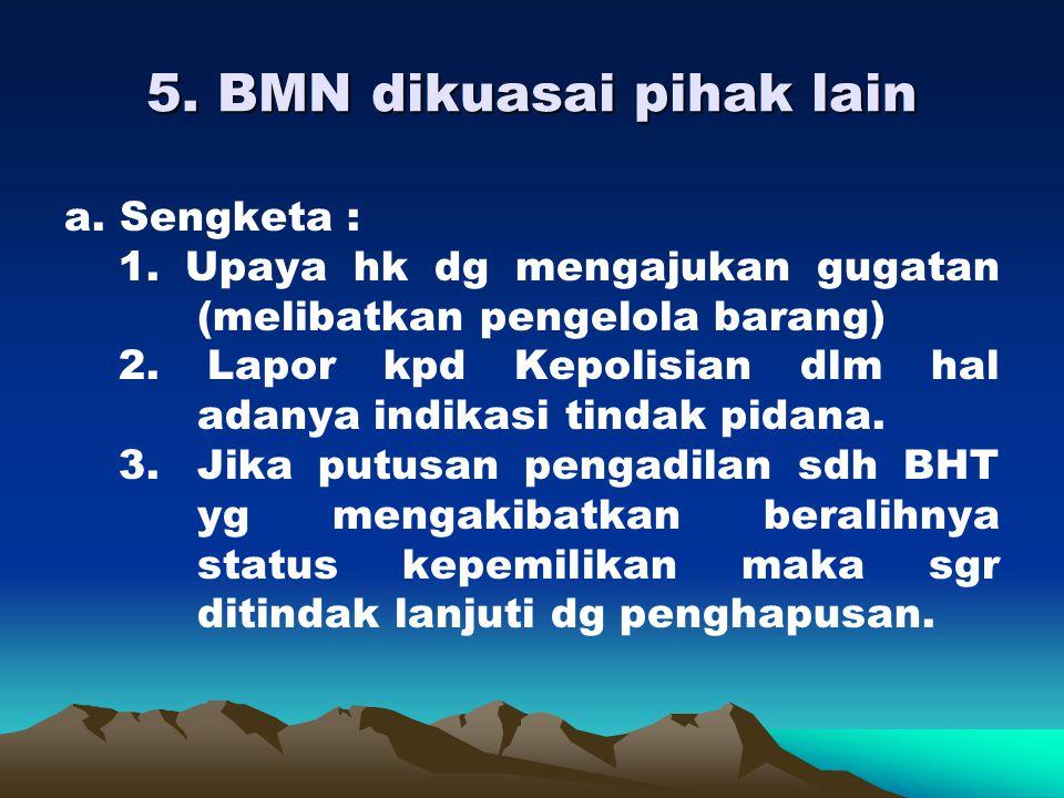 4. BMN berupa tnh yg dikuasai pihak lain a.Tidak sengketa : pendekatan persuasif klo berhasil kembali BMN scr fisik wajib mengamankan. b. Sengketa : 1