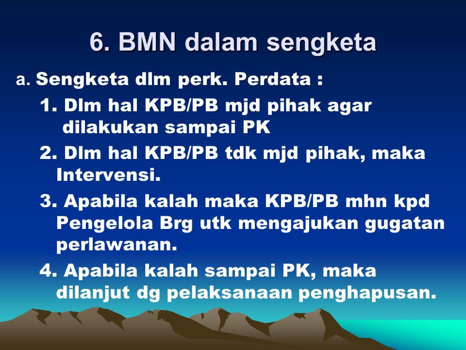 b. Tidak dlm sengketa : 1. Melakukan pdkt scr persuasif dg pihak lain yg menguasai BMN tsb. 2. Memblokir ke ktr BPN/Lurah/Camat utk menghindari pengal