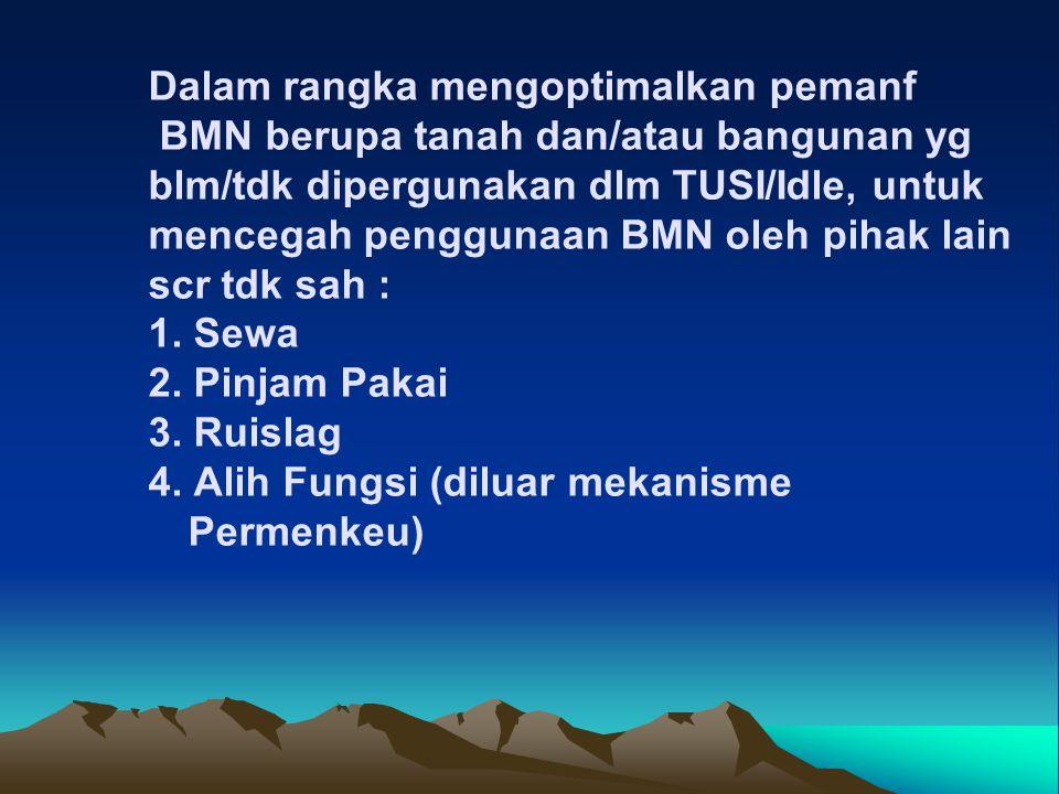 Dalam rangka mengoptimalkan pemanf BMN berupa tanah dan/atau bangunan yg blm/tdk dipergunakan dlm TUSI/Idle, untuk mencegah penggunaan BMN oleh pihak lain scr tdk sah : 1.