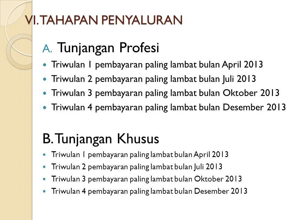 VI. TAHAPAN PENYALURAN A. Tunjangan Profesi Triwulan 1 pembayaran paling lambat bulan April 2013 Triwulan 2 pembayaran paling lambat bulan Juli 2013 T