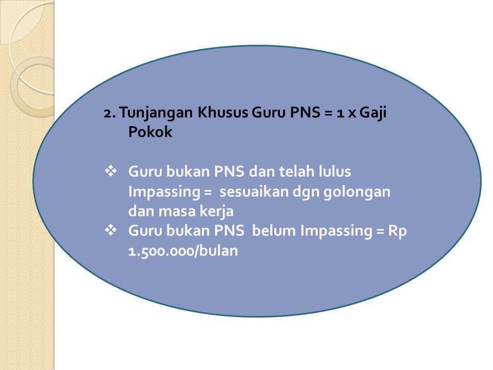 2. Tunjangan Khusus Guru PNS = 1 x Gaji Pokok  Guru bukan PNS dan telah lulus Impassing = sesuaikan dgn golongan dan masa kerja  Guru bukan PNS belu