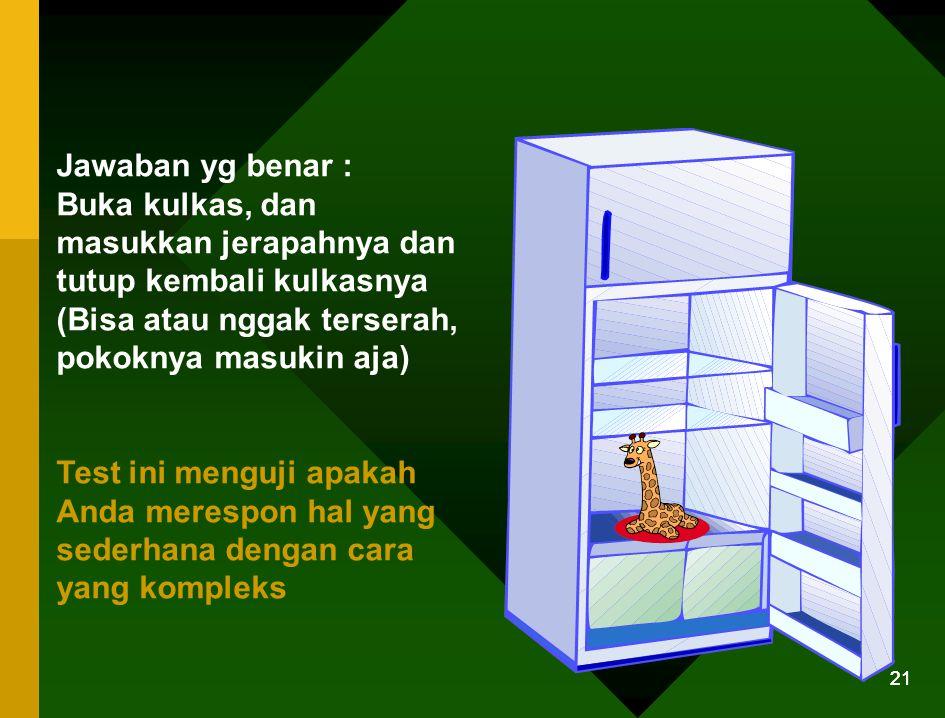 20 Pertanyaan No. 1 Bagaimana caranya memasukkan seekor jerapah ke dalam kulkas?
