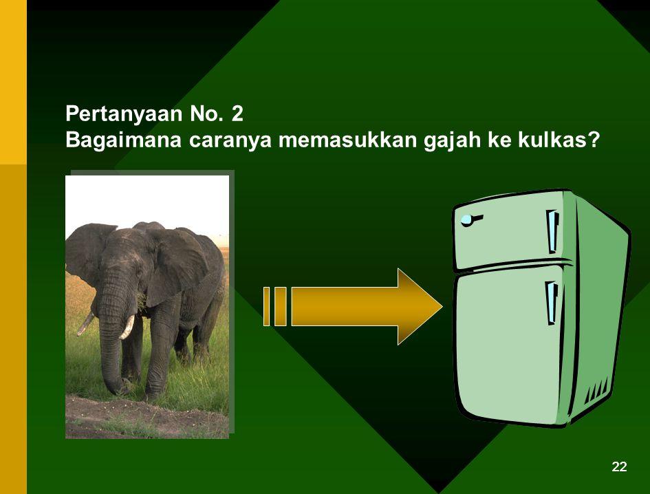 21 Jawaban yg benar : Buka kulkas, dan masukkan jerapahnya dan tutup kembali kulkasnya (Bisa atau nggak terserah, pokoknya masukin aja) Test ini mengu